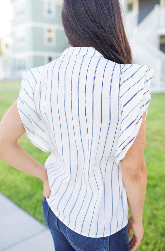 SoHo Striped Ruffle Sleeved Blouse - FINAL SALE