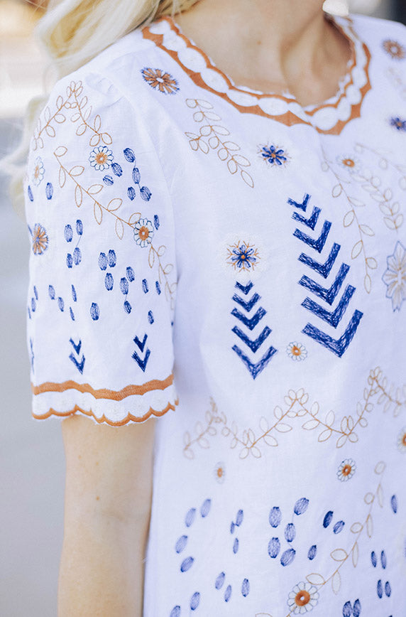 Makes Me Wonder White Embroidered Top