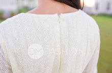 Emilee - Pale Yellow Eyelet Midi - DM Exclusive
