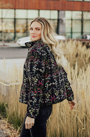 Favorite Things Black Floral Corduroy Jacket