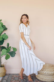 Verona Beach Stripe Button Down Maxi - DM Exclusive - Nursing Friendly - Restocked