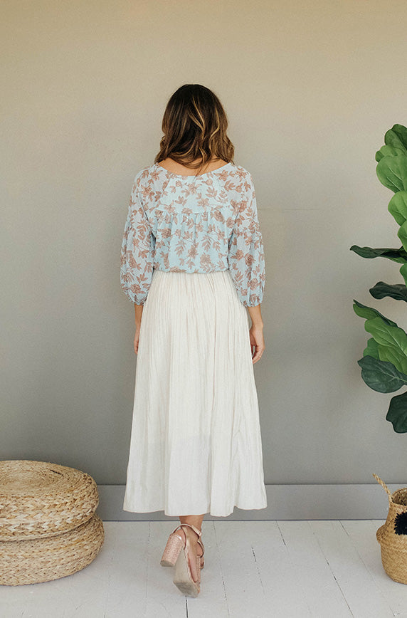Dreaming Of Spring Cream Pleated Skirt