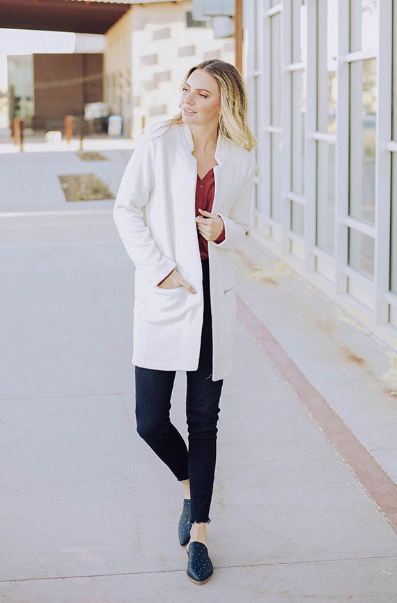On My Way Cream Long Jacket - FINAL SALE