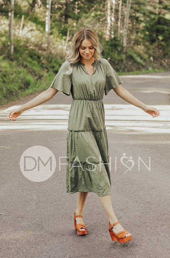 Isabelle Olive Swiss Dot Dress - DM Exclusive - FINAL SALE