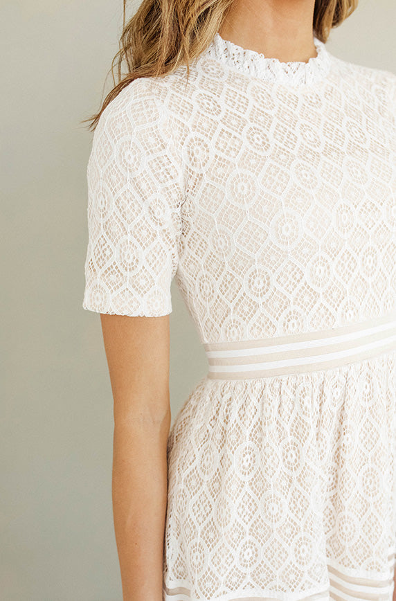 Elizabeth Ivory Nude Midi Dress - Restocked
