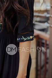 Whitney Embroidered Midi Dress - DM Exclusive