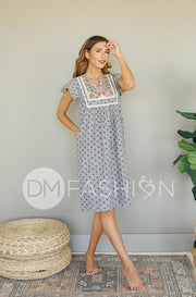 Josee Grey Embroidered Dress - DM Exclusive