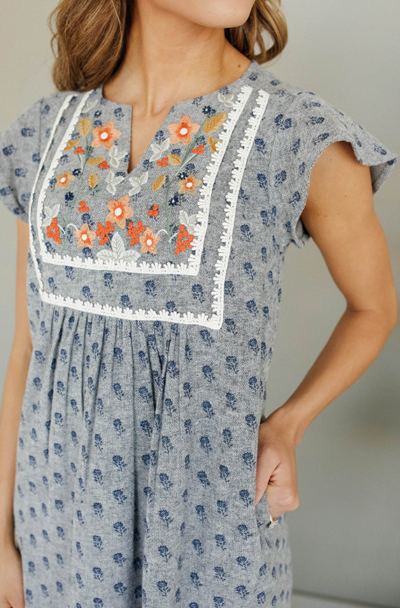 Josee Grey Embroidered Dress - DM Exclusive - Restocked
