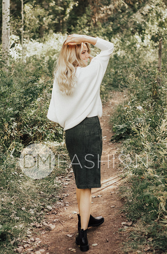 Park Place Olive Corduroy Skirt - DM Exclusive - FINAL SALE