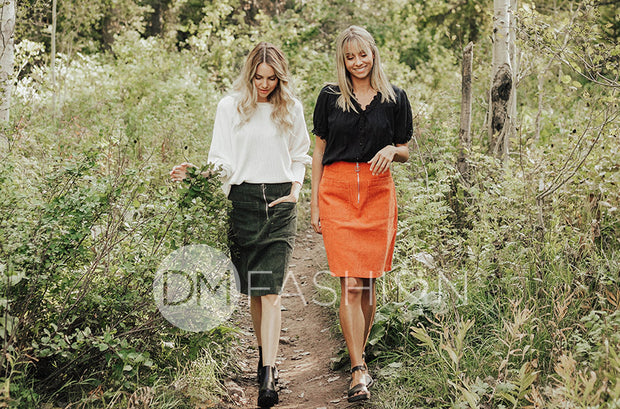 Park Place Rust Corduroy Skirt - DM Exclusive
