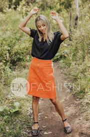 Park Place Rust Corduroy Skirt - DM Exclusive - Restocked