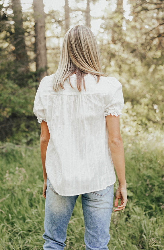 Janson White Lace Button Up Top - Nursing Friendly
