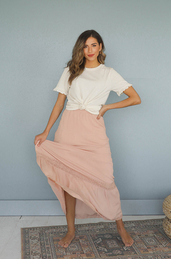 Livin' On Love Salmon Pink Maxi Skirt - Restocked