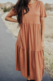 Kamryn Rust Tiered Dress