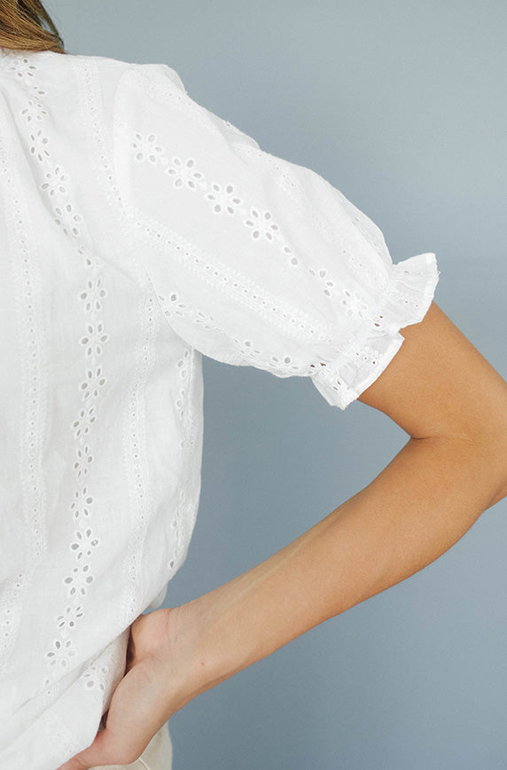 Quite The Catch White Eyelet Blouse