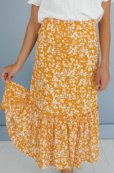 Flower Power Ruffle Midi Skirt