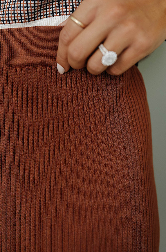 Milestone Ribbed Midi Skirt Brick