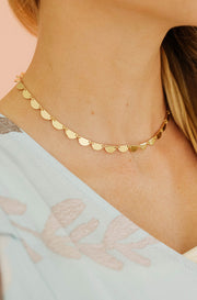 Gold Half Circle Stamp Necklace - FINAL SALE
