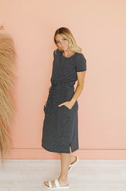 Earn Your Stripes Black Drawstring Midi Dress