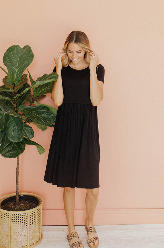 Evie Black Midi Dress