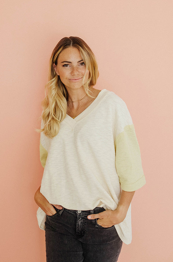 After Hours Lemon Cream Ribbed Top - FINAL SALE
