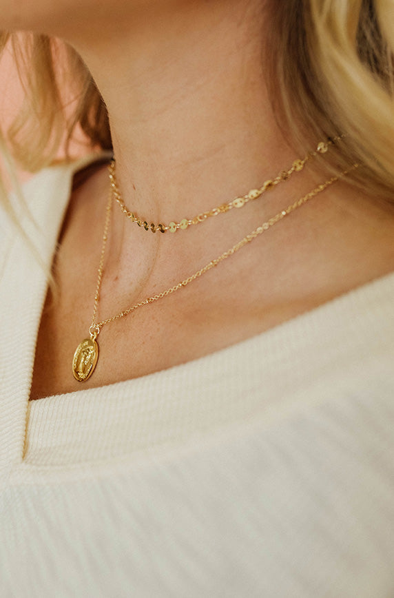 Gold 2 Layer Dot Coin Necklace - FINAL SALE