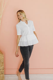 Head In The Clouds Tiered Peplum Top - FINAL FEW