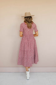 Taylor Burgundy Floral Midi Dress - FINAL FEW