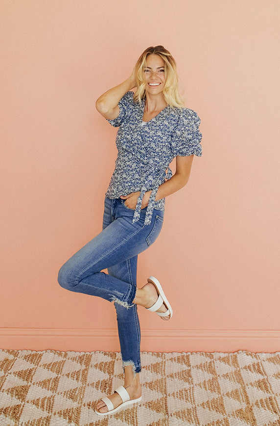 Kimmy Blue Floral Wrap Top