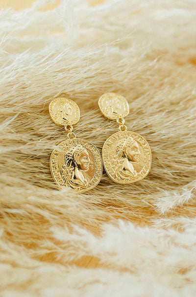 Gold 2 Drop Coin Earring - FINAL SALE