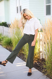 Ollie Olive Wide Leg Jeans - FINAL SALE