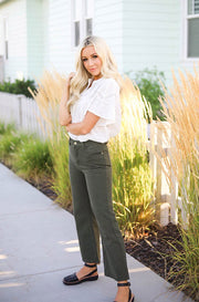 Ollie Mid Rise Olive Jeans - FINAL SALE