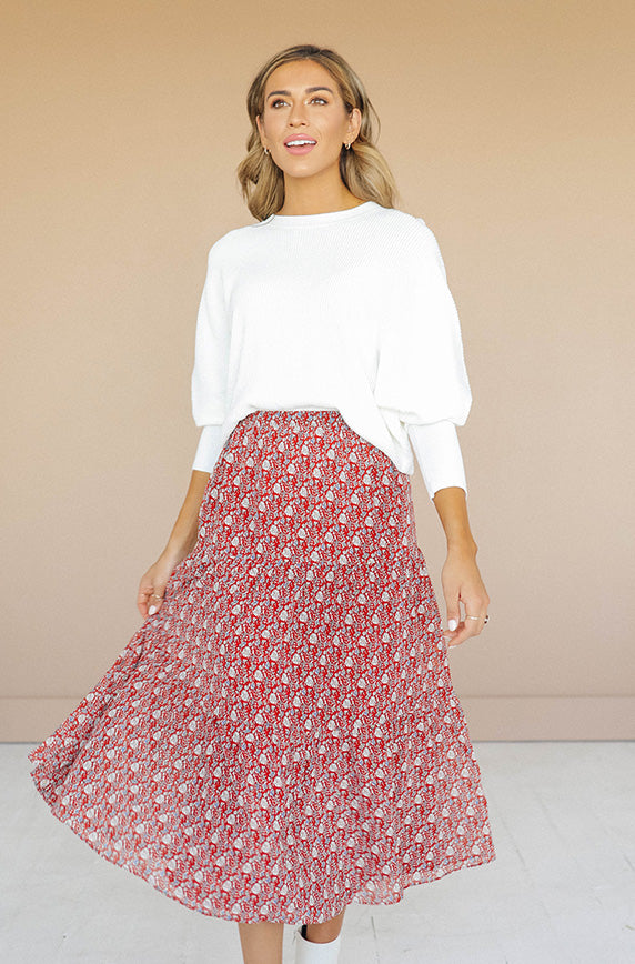 New Bridge Rust Floral Skirt - FINAL SALE