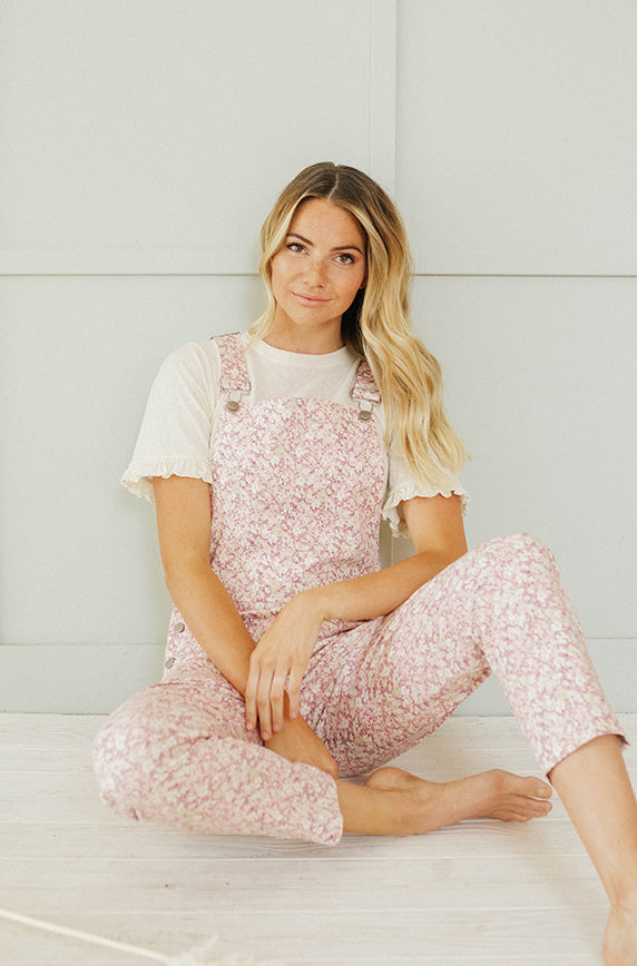 Storia Lavender Floral Overalls - Nursing Friendly - FINAL FEW