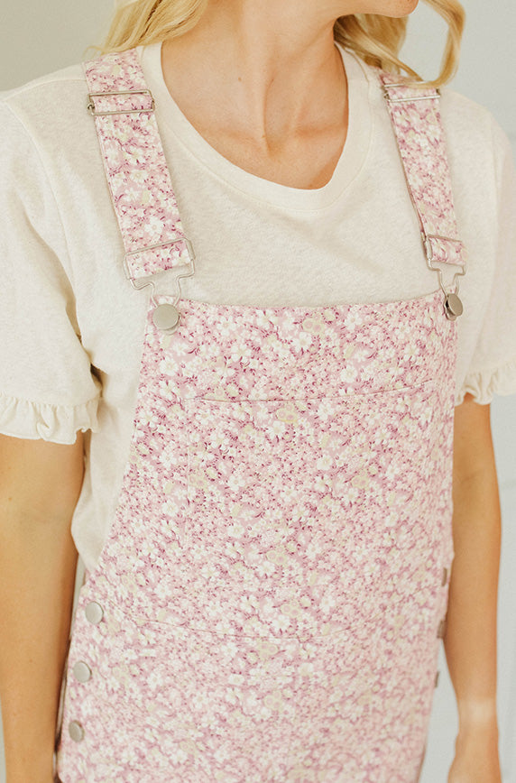 Storia Lavender Floral Overalls - Nursing Friendly