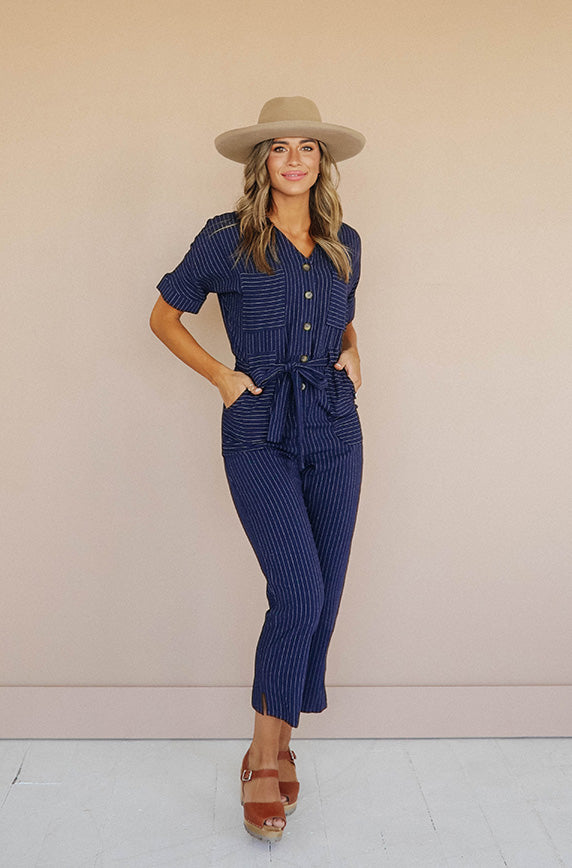 Darby Navy Pin Stripe Jumpsuit - Nursing Friendly