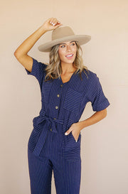 Darby Navy Pin Stripe Jumpsuit - FINAL FEW