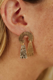 Gold 2 Drop Texture Earrings - FINAL SALE