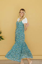 Coastal Seafoam Floral Sun Dress