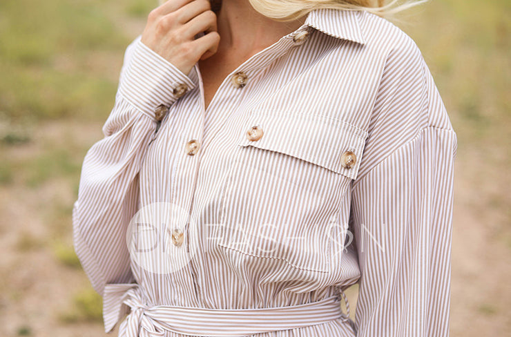 Jane Beige Stripe Button Down Dress - FINAL SALE