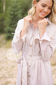 Jane Beige Stripe Button Down Dress - Nursing Friendly - FINAL SALE