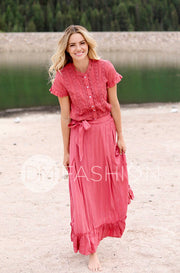 Palm Springs Coral Embroidery Maxi Skirt - DM Exclusive