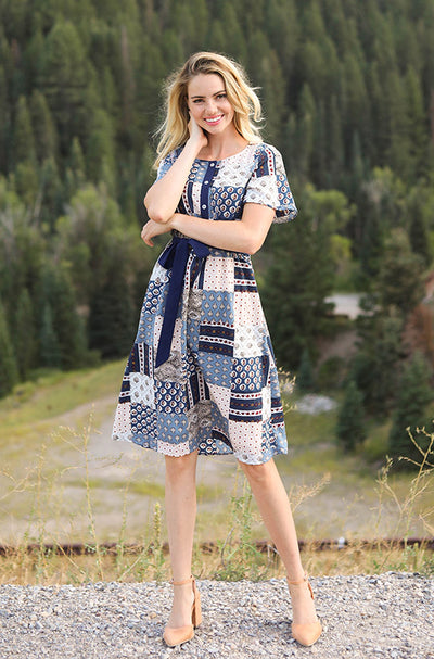 Matilda Blue Patchwork Dress - Nursing Friendly - FINAL SALE