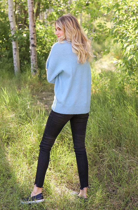 Rooting For You Blue Sweater - FINAL SALE