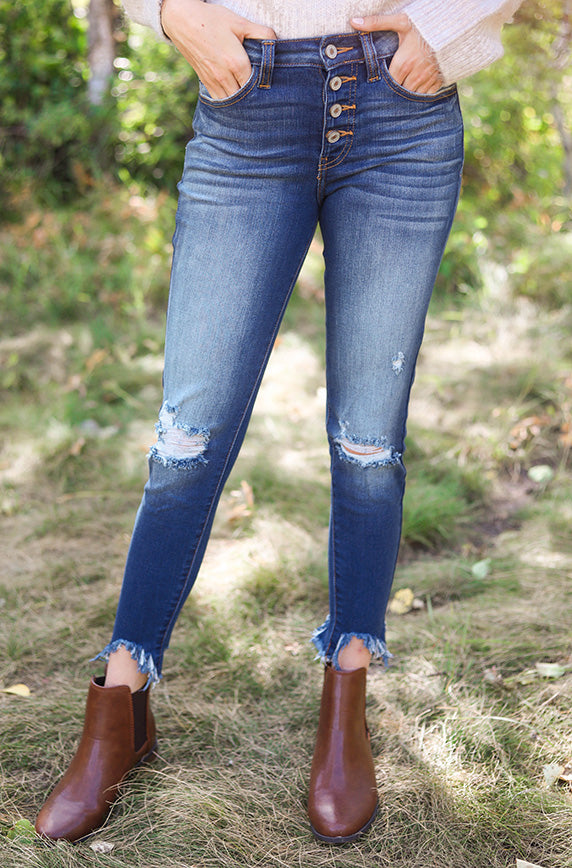 Gemma Dark Wash High Rise Ankle Skinny Jean - FINAL SALE