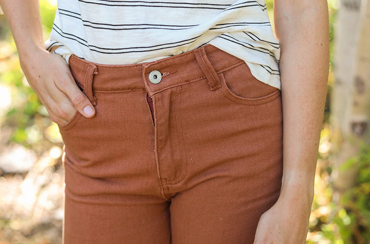 Never Looking Back Wide Leg Rust Jeans - FINAL SALE