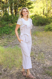 Lynwood Taupe Ruffled Jumpsuit - FINAL SALE