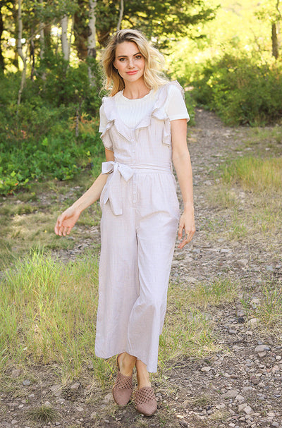 Lynwood Taupe Ruffled Jumpsuit