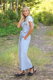 Lynwood Light Grey Ruffled Jumpsuit - FINAL SALE
