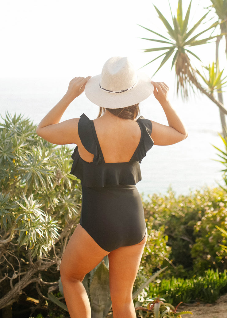 Waterfall One Piece - Black
